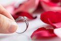 Married couple holding diamond ring over roses flowers petal Stock Photo