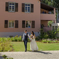 Married couple photography with a house preservation backgraound in tel aviv Stock Photo