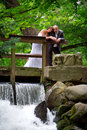Married couple portrait in the park Royalty Free Stock Image