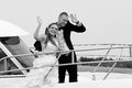 Married couple on speedboat Stock Image