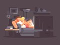 Married couple watching TV