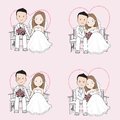 Married couple wedding cartoon, bride and groom sitting on a chair