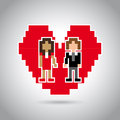 Married pixel design over gray background vector illustration Royalty Free Stock Photos
