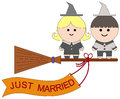 Married witches illustration of two newly wed Royalty Free Stock Photos
