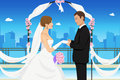 Married young couple a vector illustration of a happy groom holding his bride's hand Royalty Free Stock Photo