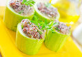 Marrow stuffed rice and meat Stock Photo