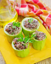 Marrow stuffed with rice on plate Royalty Free Stock Photo