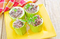 Marrow stuffed with rice on plate Royalty Free Stock Images