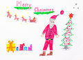 Marry christmas children picture of santa clause with his elks and gifts and tree on white background Royalty Free Stock Image