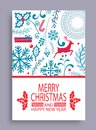 Marry Christmas and Happy New Year Bright Postcard