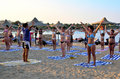 Marsa alam egypt august gymnastic instructor beach marsa alam egypt Royalty Free Stock Photo