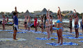 Marsa alam egypt august gymnastic instructor beach marsa alam egypt Royalty Free Stock Photos