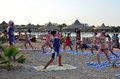Marsa alam egypt august gymnastic instructor beach marsa alam egypt Royalty Free Stock Images
