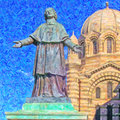 Marseille cathedral painting a digital of the from the french city of Royalty Free Stock Images