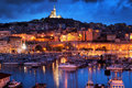 Marseille, France panorama at night. Stock Images