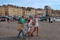 Marseille july old port vieux port with people walk walking along the promenade on Stock Photography