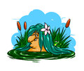 Marsh lady fairy tale cartoon illustration hag kind smile in the swamp laziness Stock Photos