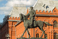 Marshal zhukov on horseback sculpture in the center of moscow Stock Photography