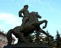 Marshal zhukov monument equestrian to georgy ekaterinburg Stock Photos