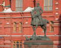 Marshal zhukov monument at manezh square in moscow Stock Photography