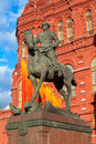 Marshal zhukov monument near red square in moscow russia Stock Image