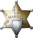 Marshals badge with a blank space for the title of and numbers isolated on white background Stock Photo