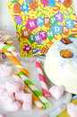 Marshmallow candy kids birthday party Royalty Free Stock Photo