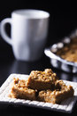 Marshmallow peanut butter squares with coffee cup this delicious breakfast or desert is perfect for anyone a sugar tooth Royalty Free Stock Image