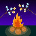 Marshmallow on skewers cooked on bonfire at night vector illustration Royalty Free Stock Photo