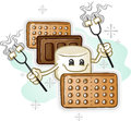 Marshmallow smores cartoon character holding roasting sticks a smore with chocolate and graham crackers marshmallows on Stock Photos