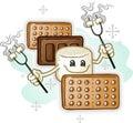 Marshmallow Smores Cartoon Character holding Roasting Sticks Royalty Free Stock Photo