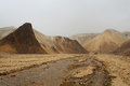 Marsian landscape: yellow and orange rocks during the sand storm Royalty Free Stock Photo