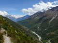 Marsyangdi river and Annapurna near Manang, Nepal Royalty Free Stock Photo