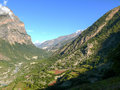 Marsyangdi river valley from Upper Pisang, Nepal Royalty Free Stock Photo
