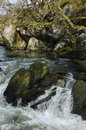 Marteg river gorge waterfall on the at gilfach farm nr rhayader Stock Photography