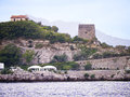 Martello tower at the baths of queen giovanna capo di sorrento is a ruined roman villa called locally in italy Stock Photography