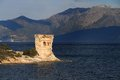 Martello tower st florent corsica the original mortello at punta mortella on the coast of the desert des agriates near Royalty Free Stock Photography
