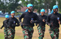 The martial art ability of air forcce cadet force demonstrated self defense when graduation ceremony in surakarta indonesia Royalty Free Stock Image