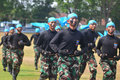 The martial art ability of air forcce cadet force demonstrated self defense when graduation ceremony in surakarta indonesia Stock Image