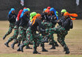 The martial art ability of air forcce cadet force demonstrated self defense when graduation ceremony in surakarta indonesia Stock Images