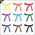 Martial art colored belts set design. Karate emblem.