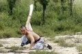 Martial arts....broadsword. Royalty Free Stock Photo