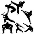 Martial arts different man silhouette on white background Stock Photos