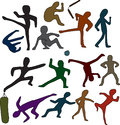 Martial arts doodles set of people and objects over white background Royalty Free Stock Image