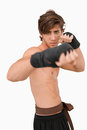 Martial arts fighter in fighting pose Royalty Free Stock Images