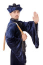 Martial arts master with nunchucks on white Royalty Free Stock Photo