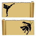 Martial arts muay thai and capoeira silhouettes on abstract papyrus paper Stock Photography