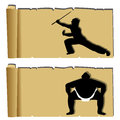 Martial arts papyrus kung fu and sumo silhouette on abstract paper Royalty Free Stock Image