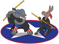 Martial arts political mascots Royalty Free Stock Photo