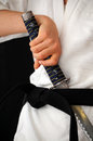 Martial arts practice man in dress and katana Royalty Free Stock Photography